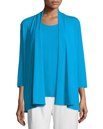 Rayon Knit Mid-Length Cardigan