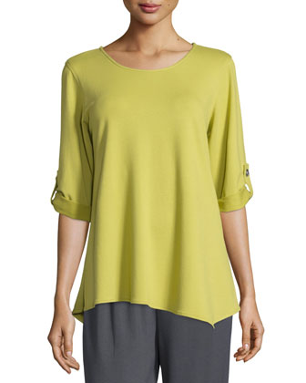 Terry Tabbed-Sleeve Top, Women's