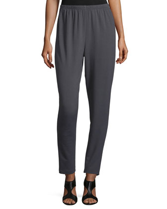 Jersey Straight-Leg Pants, Graphite