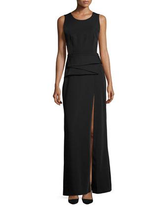 Sleeveless Peplum A-line Gown