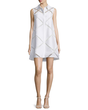Sleeveless Diamond Fil Coupe Shirtdress, White