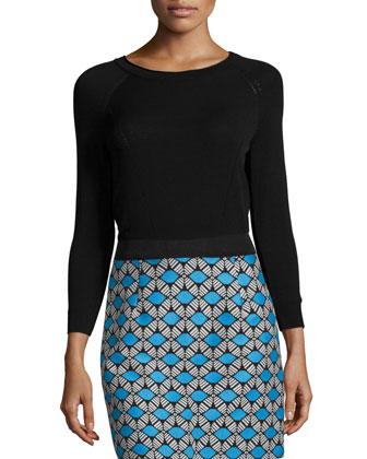 Round-Neck Raglan-Sleeve Pullover, Black