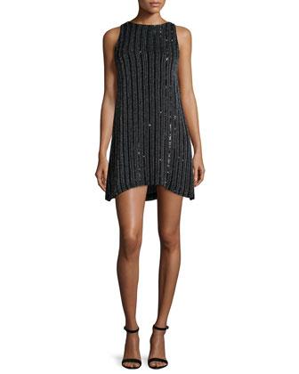 Corrine Embellished Mini Dress, Black