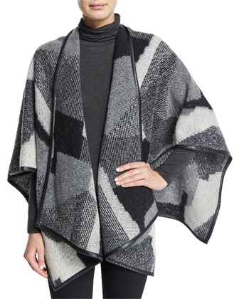 Rudy 3/4-Sleeve Patchwork Cape, Black Pattern