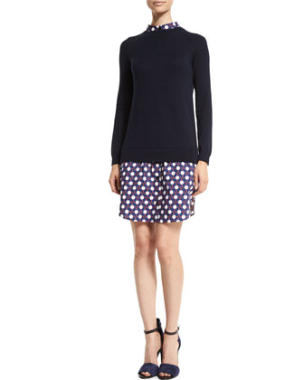 Wool Button-Back Pullover Sweater, Marine
