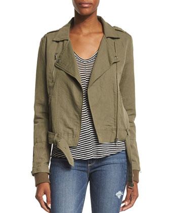 Marjorie Zip-Front Belted Jacket, Desert Olive