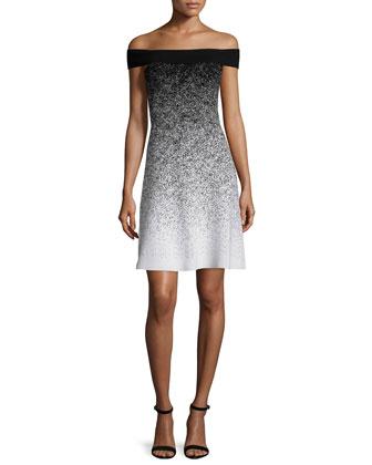 Off-The-Shoulder Fit-&-Flare Dress, Black/White