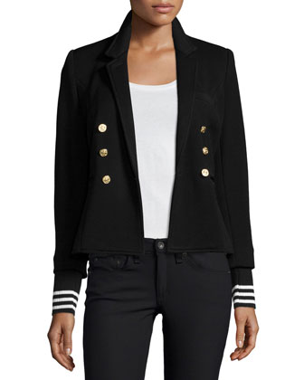 College Striped-Cuff Blazer, Black