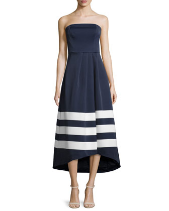 This Moment Strapless High-Low Dress, Navy Placement Stripe