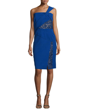 One-Shoulder Dress W/Lace Insets, Imperial Blue