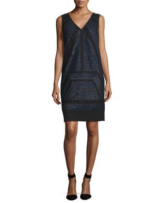 Sleeveless Lace-Inset Shift Dress, Marine/Noir