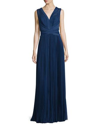 Sleeveless Crisscross-Waist Plisse Gown, Bleu Roi