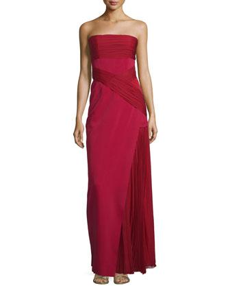 Strapless Plisse-Inset Column Gown, Maroon
