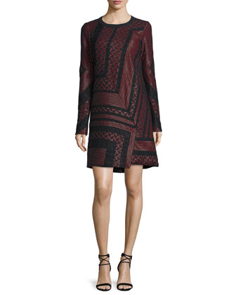 Long-Sleeve Lace-Inset Shift Dress, Ruby/Noir