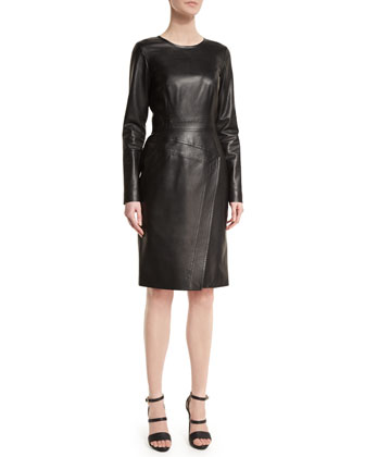 Long-Sleeve Leather Sheath Dress, Noir