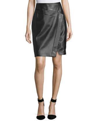 Faux-Wrap Leather Pencil Skirt, Noir