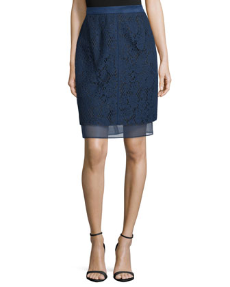 Lace Overlay Pencil Skirt, Marine
