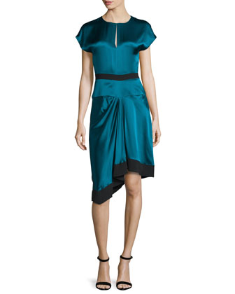 Cap-Sleeve Two-Tone Dress, Empress Green/Noir