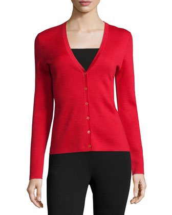 Cashmere Long-Sleeve Cardigan, Scarlet