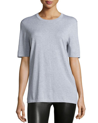 Short-Sleeve Jewel-Neck T-Shirt, Pearl Gray