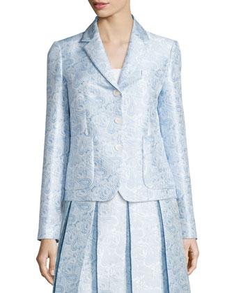 Button-Front Paisley-Print Jacket, Ice/White/Multi
