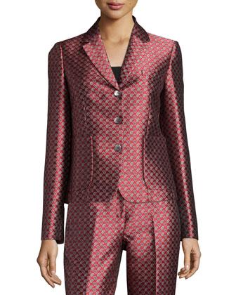 Button-Front Paisley-Print Jacket, Crimson/Multi Colors