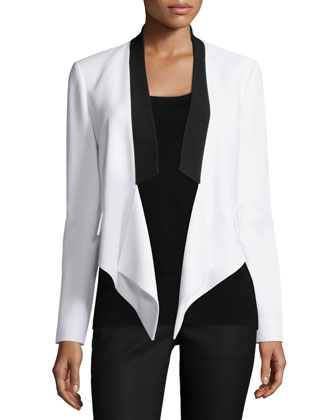 Draped-Front Two-Tone Jacket, Optic White