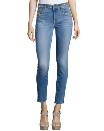 Studded Skinny Ankle Jeans, Light Authentic Blue