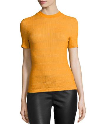 Short-Sleeve Crochet-Knit Tee, Orange