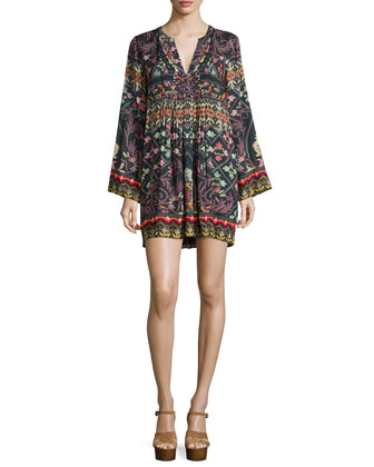Long-Sleeve Shawl-Print Mini Dress, Multi Colors