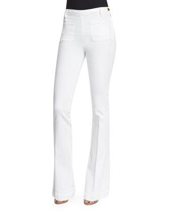 DENIM Short-Sleeve Tie-Neck Striped Top & Le High Patch-Pocket Flare-Leg Jeans