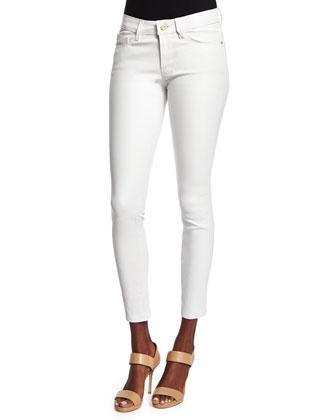 DENIM Le Skinny Leather Pants, Blanc