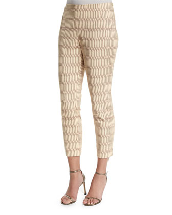 Stanton Slim-Leg Cropped Pants, Hickory/Multi