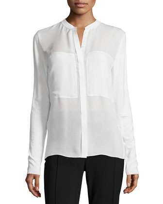 Long-Sleeve Placket-Front Blouse