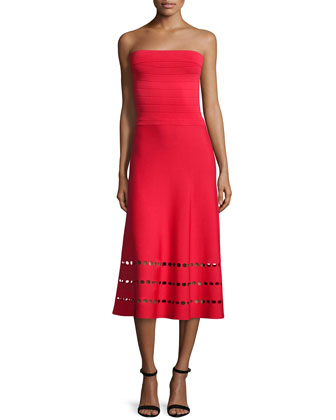 Strapless Fit-and-Flare Ponte Dress, Red