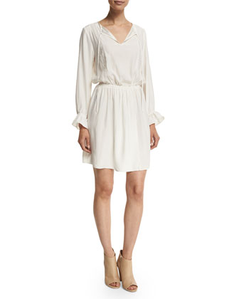 Le Lace Long-Sleeve Dress, Off White