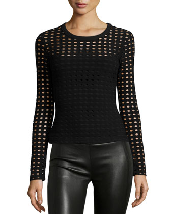 Long-Sleeve Jacquard Eyelet Top, Black