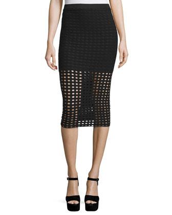 Eyelet Jacquard Pencil Skirt, Black