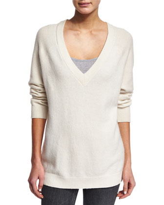 Knit V-Neck Wool-Blend Sweater, Ivory