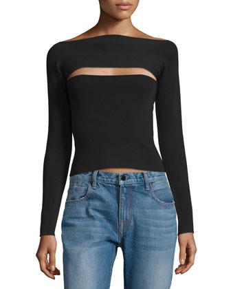 Long-Sleeve Knit Cutout Top, Black