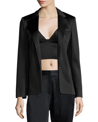 Satin Open-Front Blazer, Black