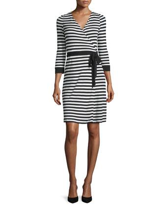 3/4-Sleeve Striped Wrap Dress