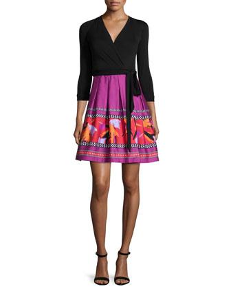 3/4-Sleeve Combo Wrap Dress, Black Floral Beet