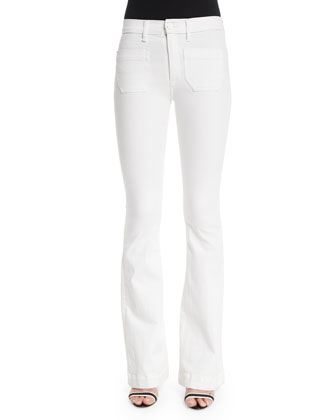 Taylor High-Waist Boot-Cut Jeans, White