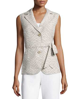 Two-Button Vest W/Self Belt, Hickory/Multi