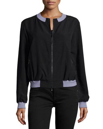 Zip-Front Bomber Jacket W/Contrast Trim, Black