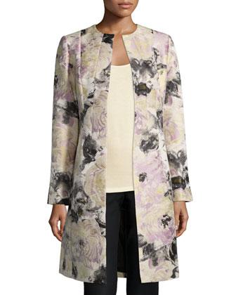 Roland Floral-Print Long Jacket, Ash/Multi