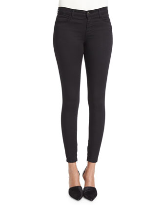 Mid-Rise Ankle-Zip Jeans, Black