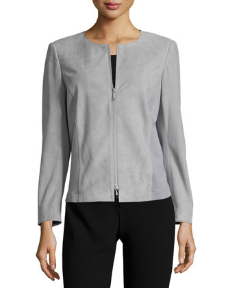 Round-Neck Zip-Front Combo Jacket, Raindrop