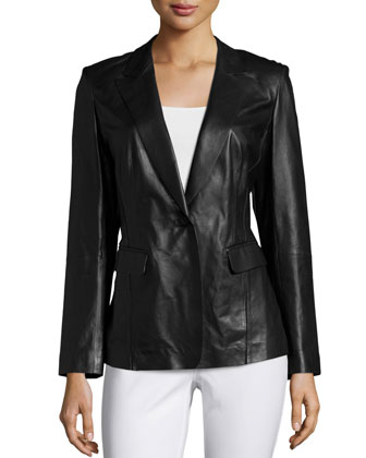 Stelly One-Button Leather Jacket, Black